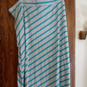 Faded Glory sz 4x Turquoise and Grey Maxi Skirt